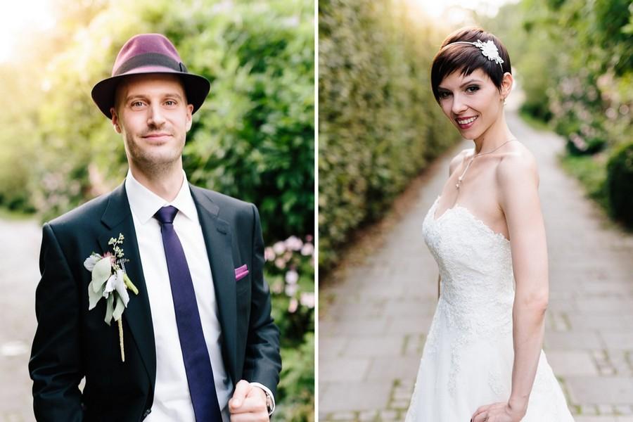 Vintage-Outfit von Braut und Bräutigam