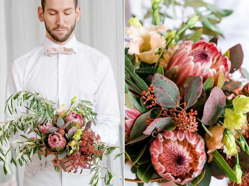 Ein wintelicher Brautstrauß mit Distelblüten im Boho-Stil.