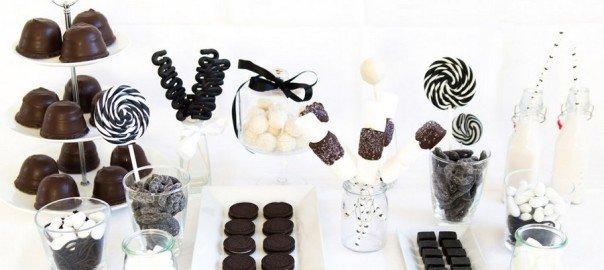 Candybar für eine Hochzeit in schwarz-weiß