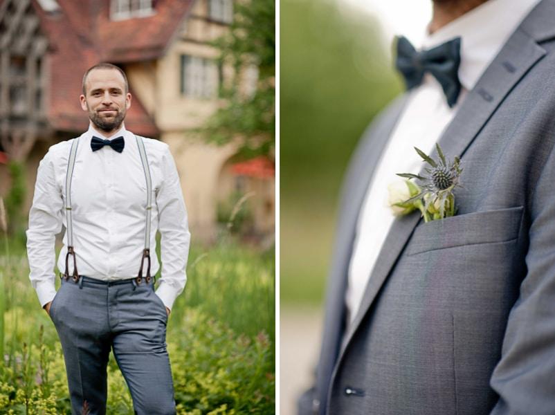Details Hochzeitsanzug in graublau für einen Bräutigam