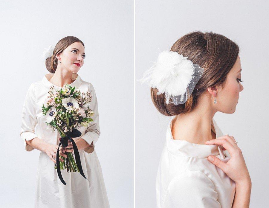 Edles Braut-Styling mit Dutt und tollem Make-up im Retro-Stil der 50er Jahre