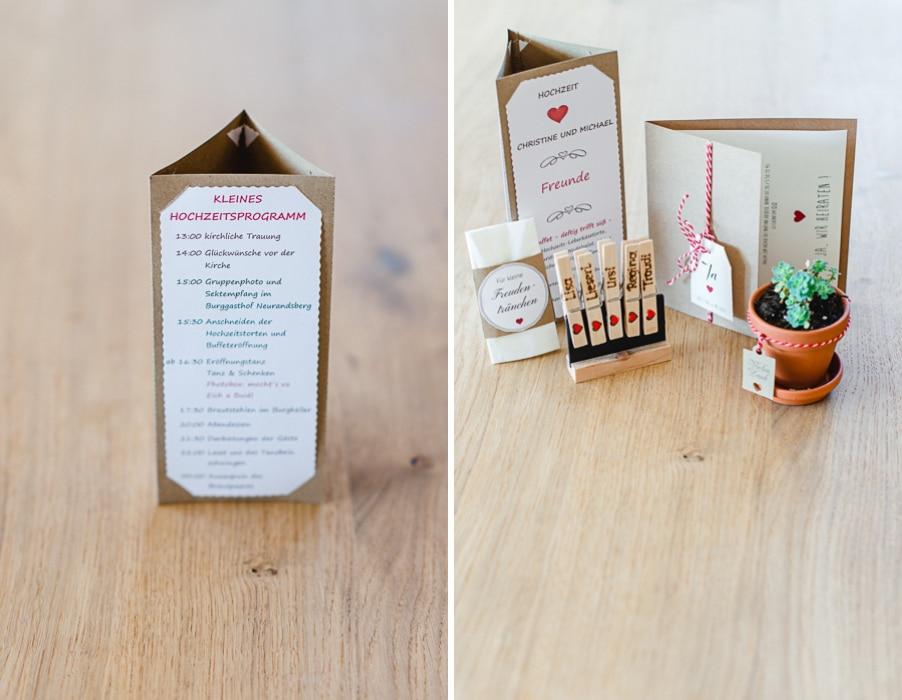 Hochzeitsprogramm und Hochzeitseinladung aus Kraftpapier passend zu einer Trachtenhochzeit