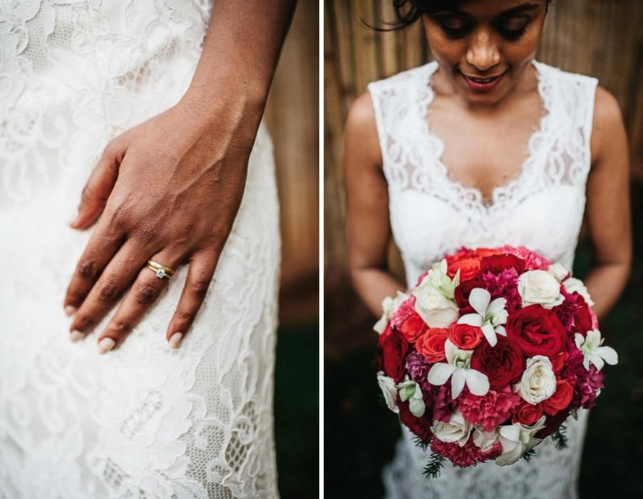 Großer Brautstrauß in Rot und Weiß