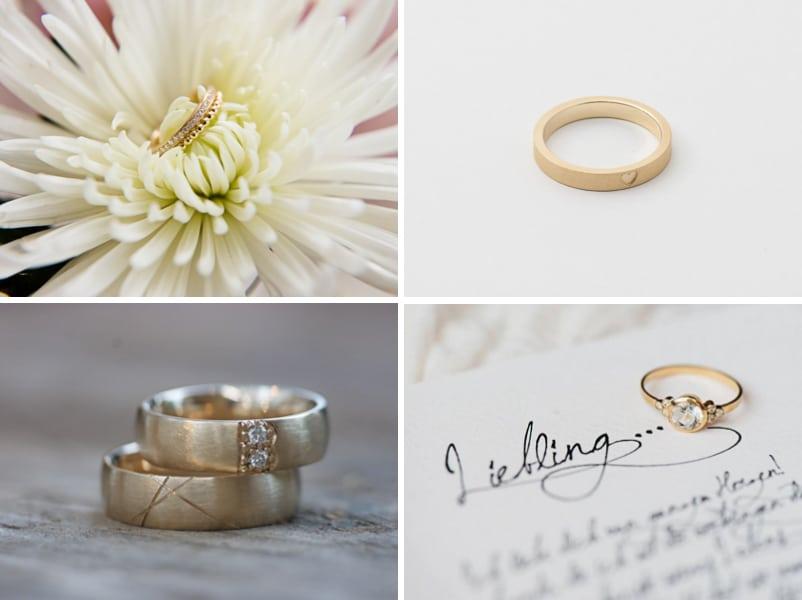 Ideen für Verlobungsringe und Trauringe bzw. Eheringe in Gold, Weißgold und Platin