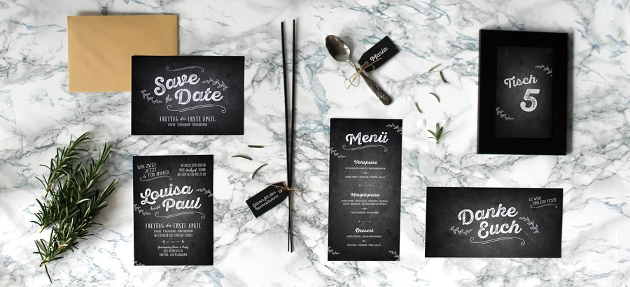 Papeterieset für eure Hochzeit im Retro-Stil mit Kreide-Design.