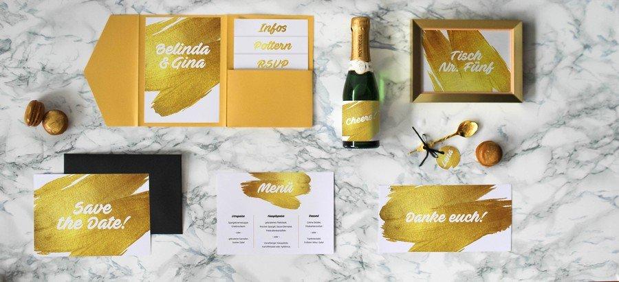 Papeterieset für eure Hochzeit im modernen Stil mit Gold