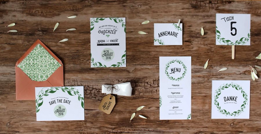 Papeterieset für eure Hochzeit im Boho-Stil mit Natur und viel Grün