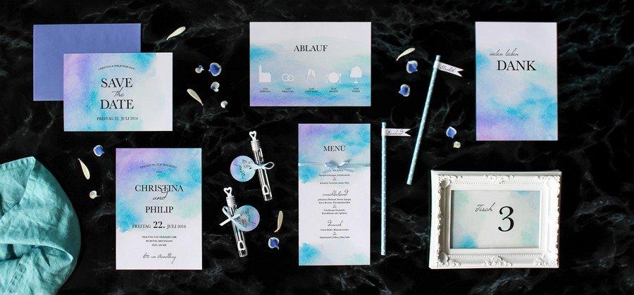 Papeterieset für eure Hochzeit im modernen Stil in Türkis und Hellblau
