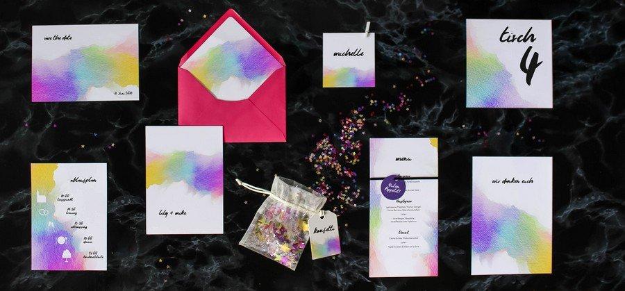 Papeterieset für eure Hochzeit im modernen Stil im Wasserfarben-Design mit Pastellfarben