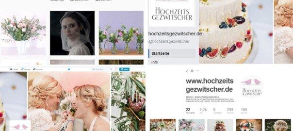Die sozialen Netzwerke von Hochzeitsgezwitscher: Instagram, Facebook, Twitter, Pinterest