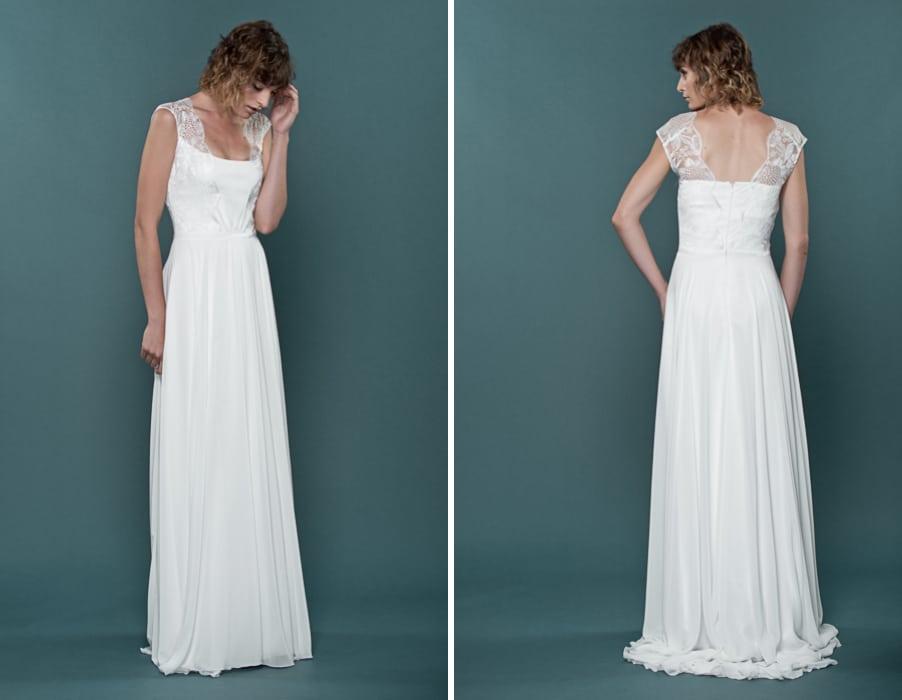 Brautkleid Henrike mit breiten Trägern und tiefem Rückenausschnitt von therese und luise