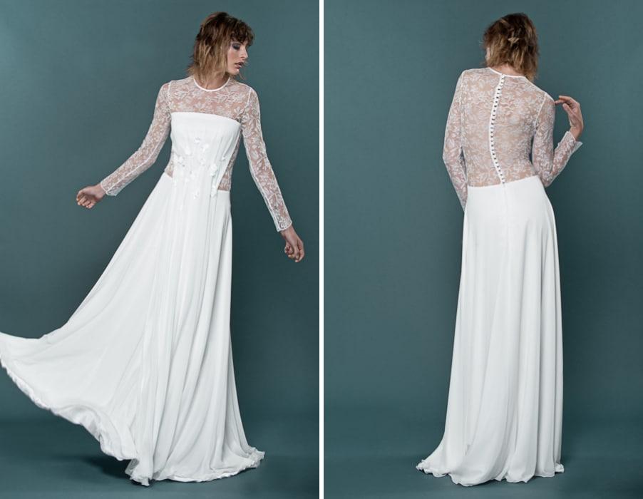 Brautkleid Heather mit langen Armen und Spitze von therese und luise
