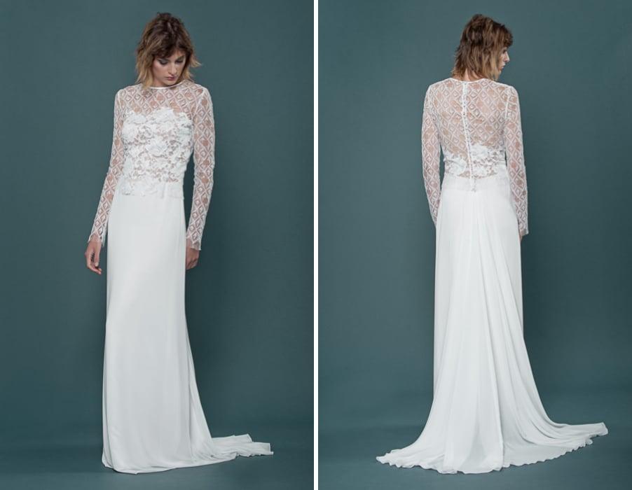 Brautkleid Ilsa mit langen Armen und floraler Spitze von therese und luise