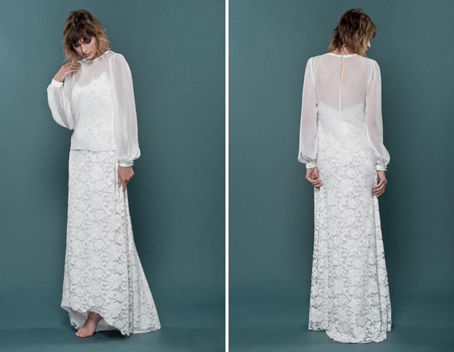 Brautkleid mit Langarm-Bluse und Spagettiträgern von therese und luise
