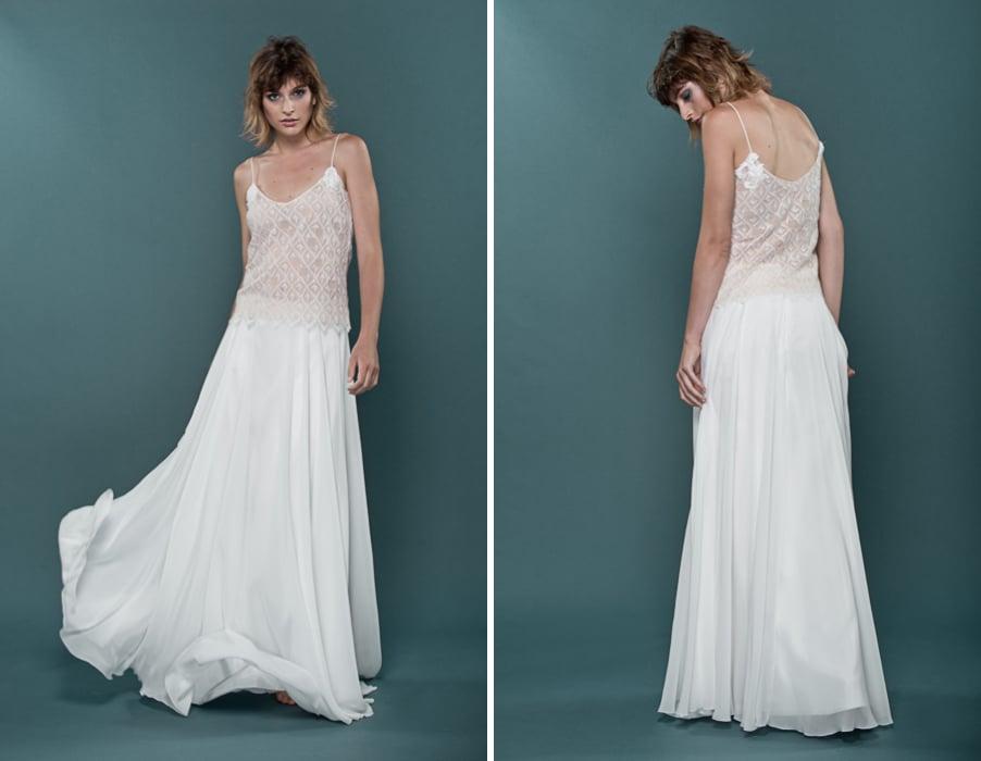 Brautkleid Ina aus Rock und Top kpmbiniert mit Spagettiträgern von therese und luise