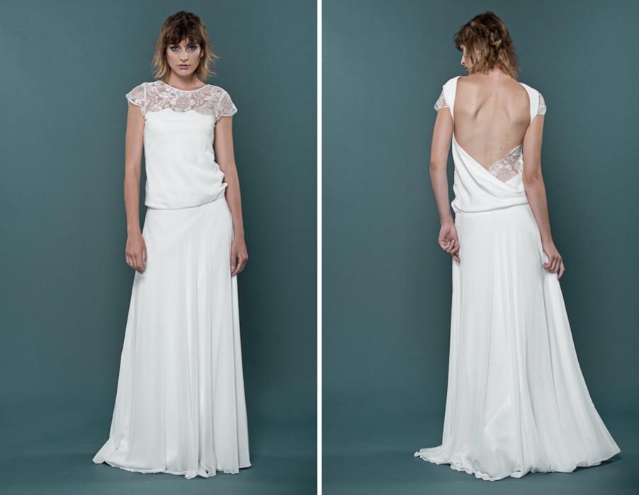 Brautkleid Hilde mit tiefem Rückenausschnitt und Wasserfallausschnitt von therese und luise