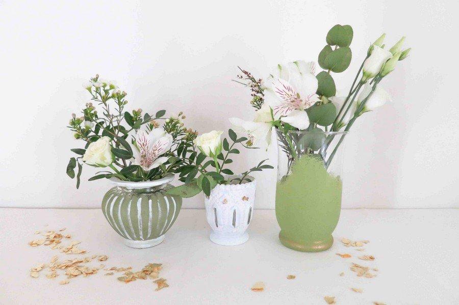 diy-hochzeit-tischdeko-vasen-chalky-chic-greenery-natur-#