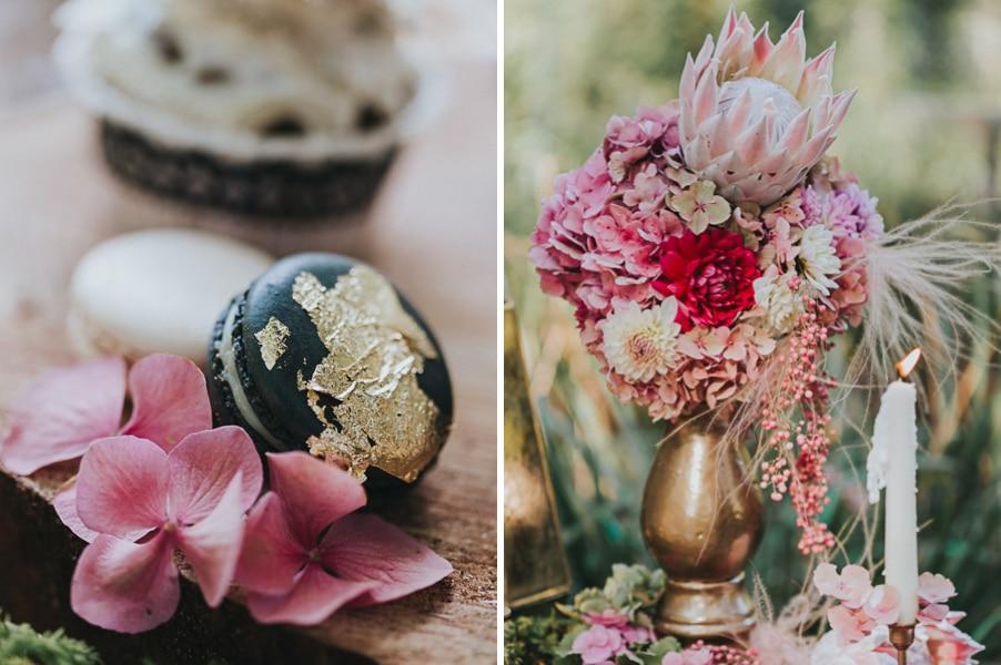 inspiration-hochzeit-vintage-deko-blumen-pink-schwarz-rosa-weiss