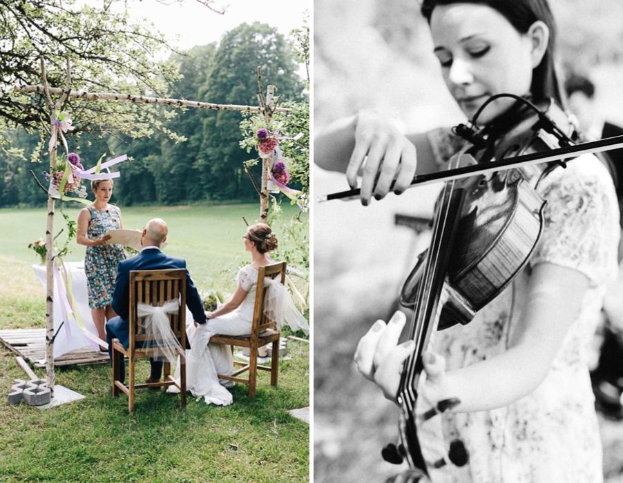 Süße Vintage-inspirierte Hochzeit mit freier Trauung im Obst-Garten von Kirchstett